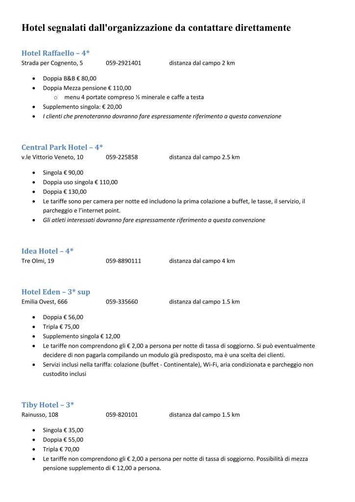 Hotel segnalati Dispositivo Organizzativo ITA Master 2014 1