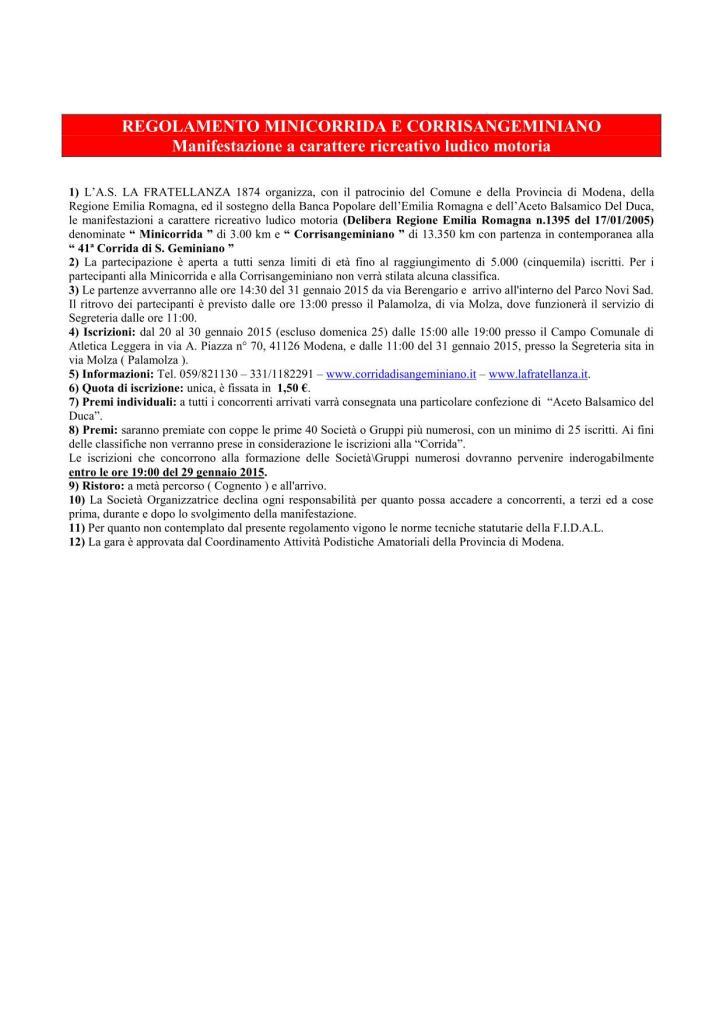 Regolamento Mini e Corrisangeminiano 2015