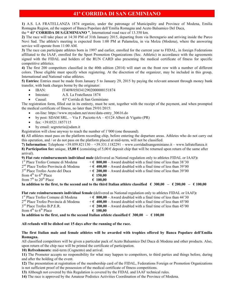 Regulation Corrida 2015 EN
